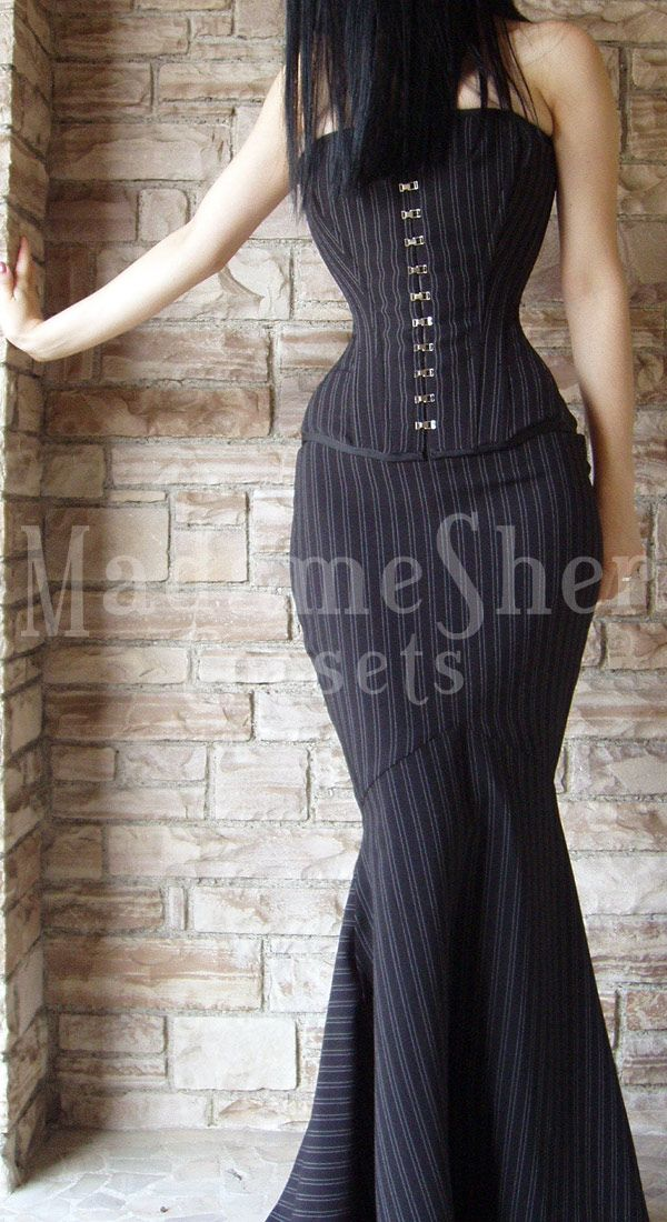 This is so awesome. You know I'd rock this. Why lie?   Pinstriped Corsetry