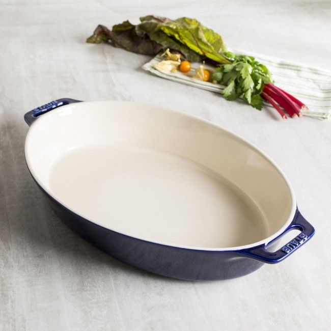 Staub En France Ceramic Oval Roasting Dish (Dark Blue)