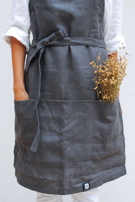 Natural linen apron full linen apron linen woman by feellinen
