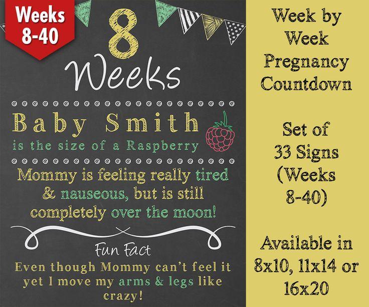 Weekly Chalkboard Pregnancy Countdown, Weekly Pregnancy Countdown, Pregnancy Chalkboard Sign, Baby Countdown, Weeks 8-40, Set of 33 Boards by ChalkyPrints on Etsy https://www.etsy.com/listing/216447102/weekly-chalkboard-pregnancy-countdown