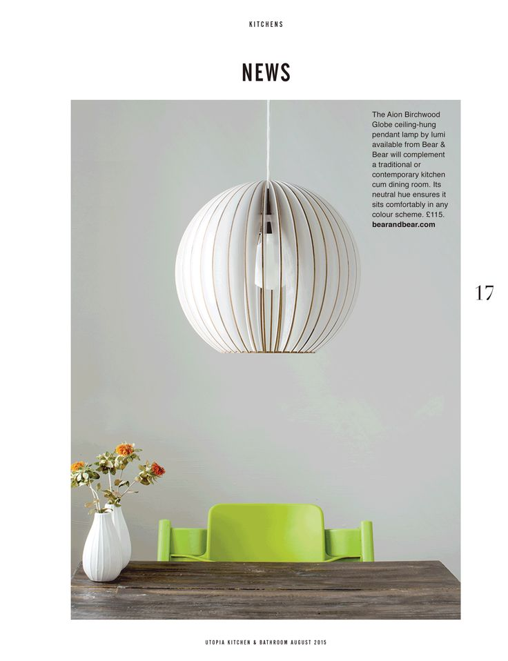 The Aion Birchwood Glove ceiling-hung pendant lamp by lumi available from Bear & Bear will complement a traditional or contemporary kitchen cum dining room. Its neutral hue ensures it sits comfortable in any colour scheme. #utopialoves #interiors #pendants bearandbear.com