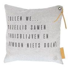Zusss Kussen Linnen Peper & Zout 45 x 45 cm - Zullen We Gezellig