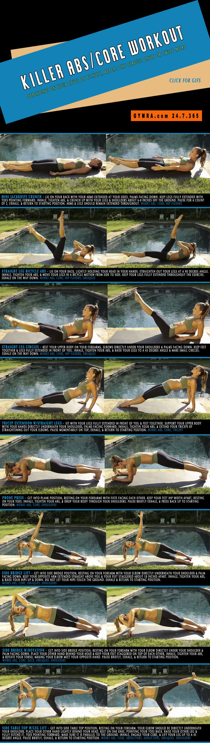Fat Burning Ab Exercises. Burn fat and slim down while toning up your abs and strengthening your core. Repeat the circuit once or twice more. Click the image to see the moves in GIF form.