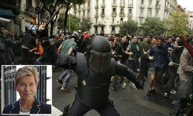 KATIE HOPKINS: Sickening sight of police beating Catalan protesters