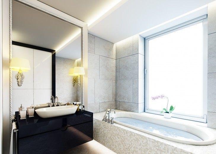 Projekt luksusowej łazienki w ciepłych szarościach z dodatkiem czekoladowego drewna i granatu.
