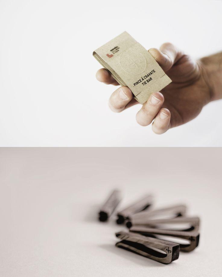 Pinces à cravates faites, de manière à favoriser le développement durable, par les créateurs  Marie-Pier Aubry, Samuel Guillemette et Maxime Lévesque. / Tie bar created while keeping sustainable development in mind by Marie-Pier Aubry, Samuel Guillemette and Maxime Lévesque. http://c2m.tl/1qZYH0q   #C2MTL #Montreal #craft #design