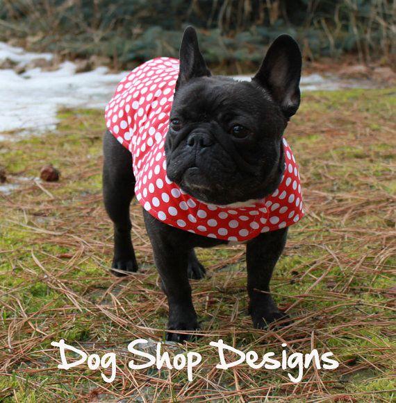 French Bulldog Red and White Polkadot Print Rain by DogShopDesigns