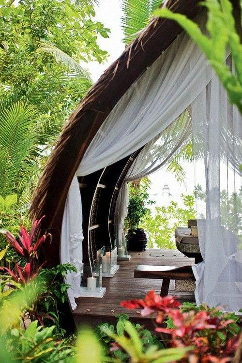 tropical escape is needed soon - love this curtain attached all the way down