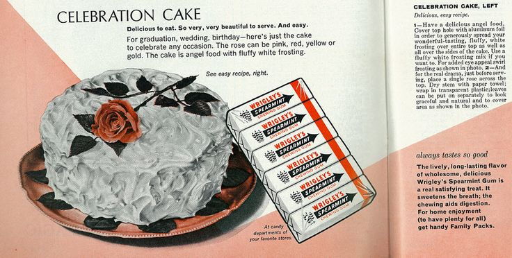 Woman's Day, June 1966 Wrigley's Spearmint Gum with Celebration Party Cake Recipe