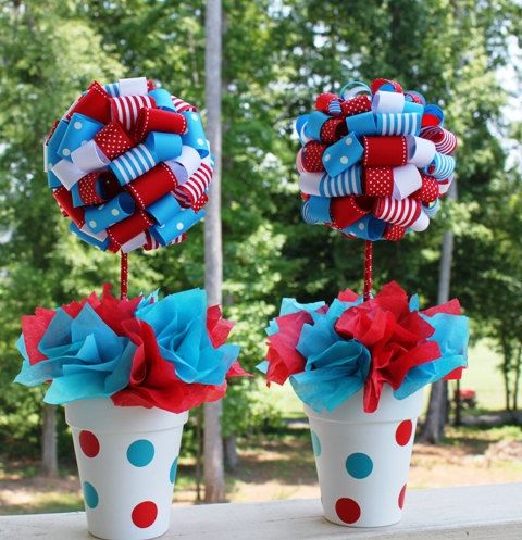 dr suess birthday center pieces | Dr. Suess Ribbon Topiary in Red and Turquoise Thing 1 Thing 2 ...