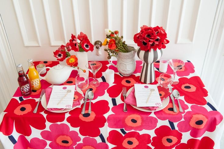 Marimekko Unikko print used as a tablecloth- LOVE! // photo by mikkelpaige.com, planned & designed by roeymizrahi.com