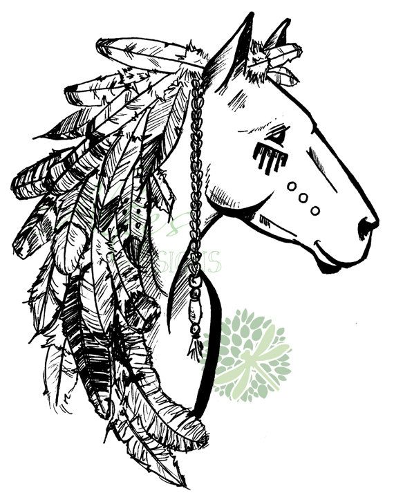 Tribal horse with feathers illustration. Possible tattoo design?