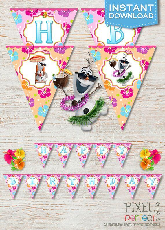 Frozen SUMMER Birthday Banner Frozen Summer by PixelPerfectShoppe, $3.99