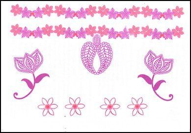 """Pink Flower Designs Temporaray Tattoo by Tattoo Fun. $3.95. This is a colorful Temporary tattoo of a strand of pink and purple flowers, and pink flowers below it that encompass a henna design. All of the images together measures approx 3 3/4"""" long x 2 1/4"""" wide."""