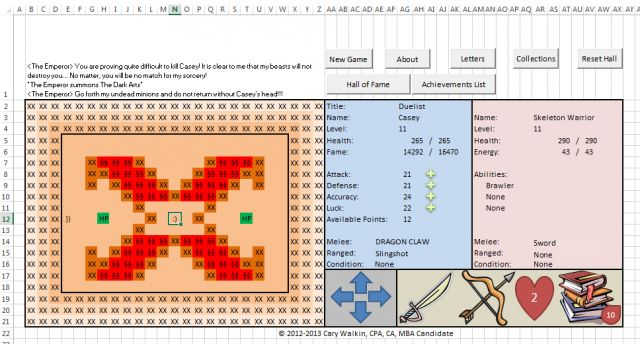 How an accountant created an entire RPG inside an Excel spreadsheet Arena.Xlsm puts macros to work for leveling, battling, and collecting items.