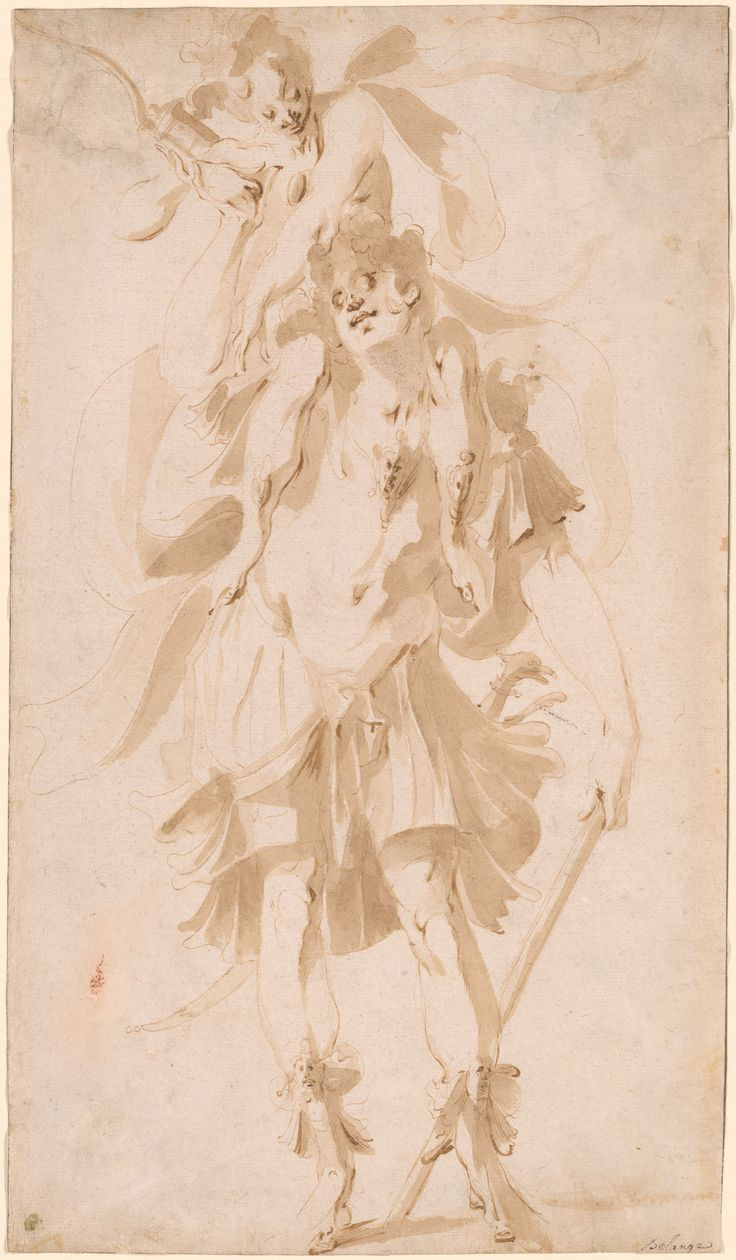 Jacques Bellange (ca. 1575-1616), Hunter Orion Carrying Diana on His Shoulders, Pen and brush and brown ink on paper