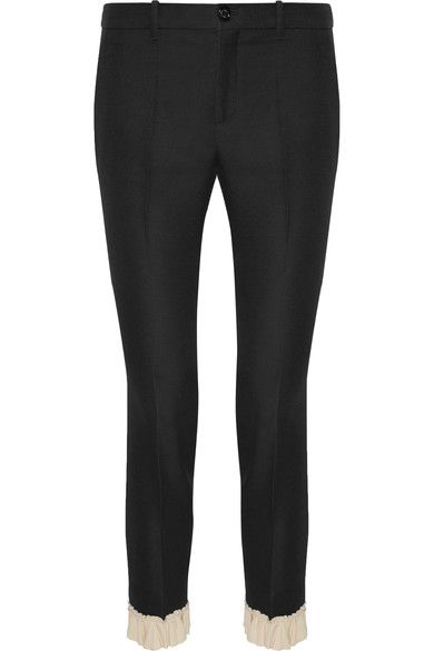 Gucci - Ruffle-trimmed Silk And Wool-blend Skinny Pants - Black - IT44