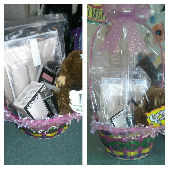 Gift Basket include: Mary Kay TimeWise Miracle Set, Mary Kay Mineral Powder Foundation, Mary Kay Mineral Eye Color, Mary Kay Nourishine Plus Lip Gloss, Mary Kay Lash Love Waterproof Mascara, Mary Kay Cheek Color, and a cute Teddy Bear    You can also Email me at terrydelisle@yahoo.com  and I can send you a current e Look Book.