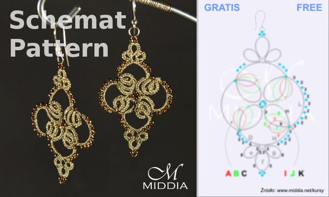 Schemat frywolitka kolczyki. Tatting pattern earrings