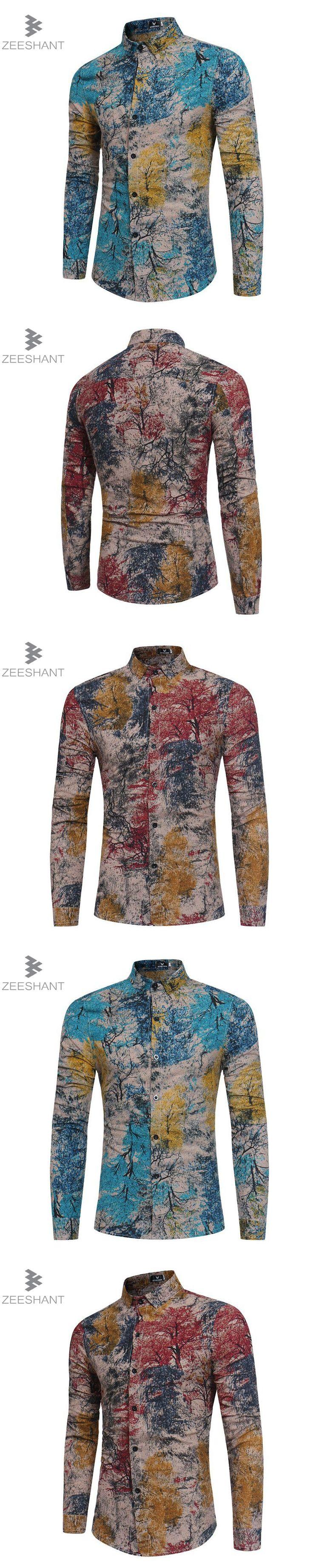 ZEESHANT Mens Slim Fit Shirts Spring Autumn New Cotton Long Sleeve Business Men Shirt Slim Print Camisa Social Masculina XXXL
