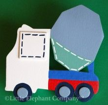 Dump truck quilt clip handpainted to coordinate with transportation bedding themes. Colors used are cream, chambary blue, lipstick red, ribbon blue, navy, white and sage green.    Also available as a growth chart, name sign, curtain holdbacks, wall letters, peg racks, book ends, and more.    Available at Little Elephant Company.