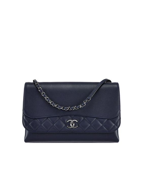 Flap bag, calfskin-navy blue - CHANEL