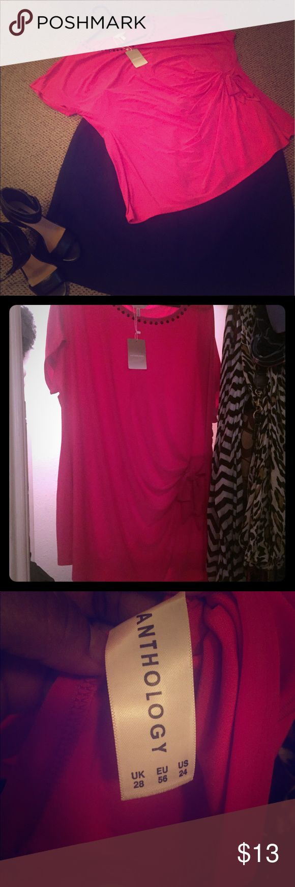 Cute hot pink blouse Hot pink blouse with black gems around the collar & a cinched bow on the left side. Shapely and cute. Stretchy. Size 24. Anthology Tops Blouses