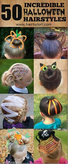 50 Incredible Halloween Hairstyles - there are so many cute and fun ideas in here!  Perfect for crazy hair day, too!