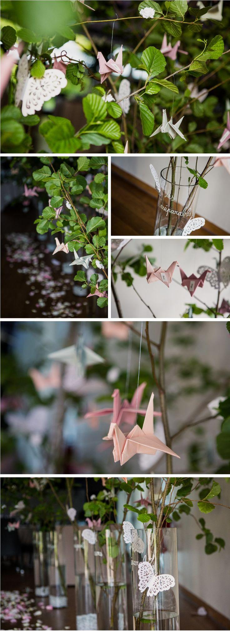 Plan de table origami et arbres Déco by FéeLicité Photos: Raphael Melka Mariage sur le thème Jardin anglais à la Cour de Honau à la Wantzenau