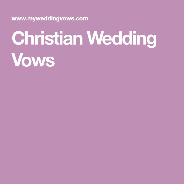 Christian Wedding Vows