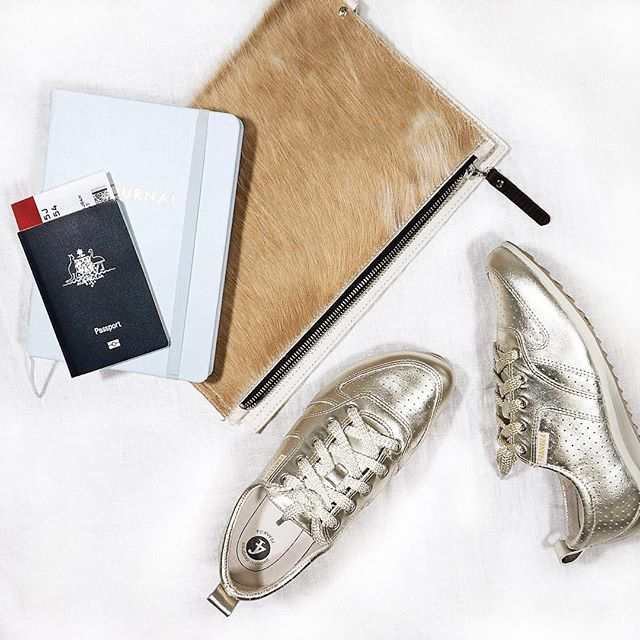 This warm weather has us dreaming up our next holiday ✈️ What's on our pack list? JENNi! Metallic kicks designed by a podiatrist, that you'll want to wear again and again - plus a passport wouldn't hurt either ;) Where have your FRANKiE4s taken you? www.frankie4.com.au #frankie4footwear #savingsoles #podiatristdesingedfrankie4 #physiotherapistdesigned #archsupport #frankie4travels #travelinspo #metallic #sneakers
