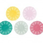 Floral Fiesta Mini Doily x 100 5 Colours - Pink Blue Yellow Green Wedding / Party