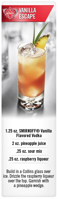 Smirnoff Vanilla Escape drink recipe with Smirnoff Vanilla flavored vodka, pineapple juice, sour mix and raspberry liqueur. #Smirnoff #drink #recipe