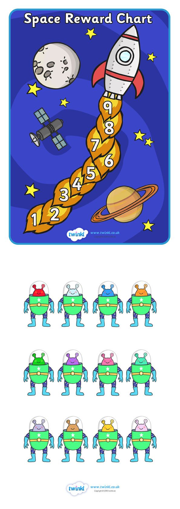 Twinkl Resources >> Space Reward Chart >> Thousands of printable primary teaching resources for EYFS, KS1, KS2 and beyond! space, reward, award