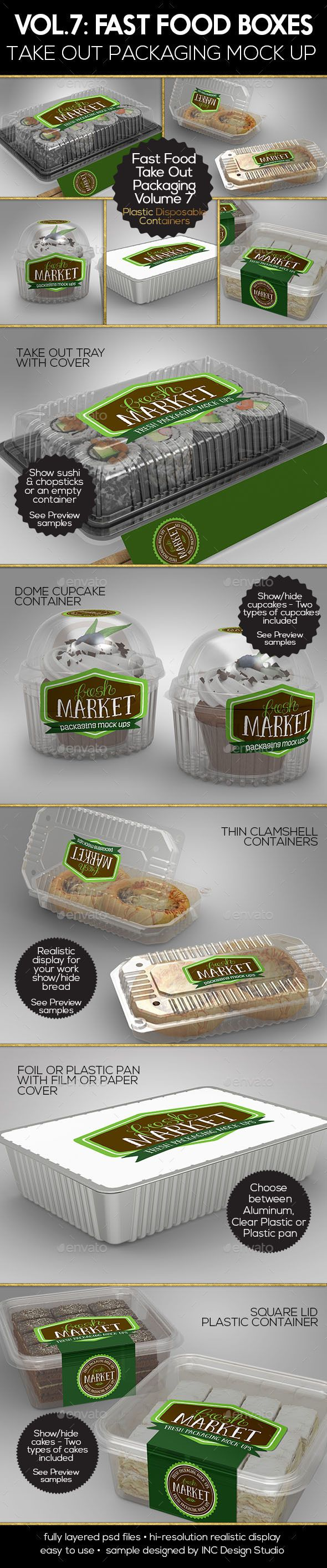 Fast Food Boxes Vol.7:Take Out Packaging Mock Ups - Food and Drink Packaging