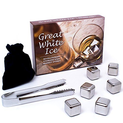 Great White Ice Whiskey Stones - Premium Drink Chilling 1 Inch Stainless Steel Reusable Ice Cubes With Tongs And Storage Pouch. Set Of 6. Only need to be frozen from 1-2 hours.http://www.amazon.com/dp/B00CIXQ5C4/ref=cm_sw_r_pi_dp_5pXcvb0VZ2H1K #whiskey stones #whisky stones