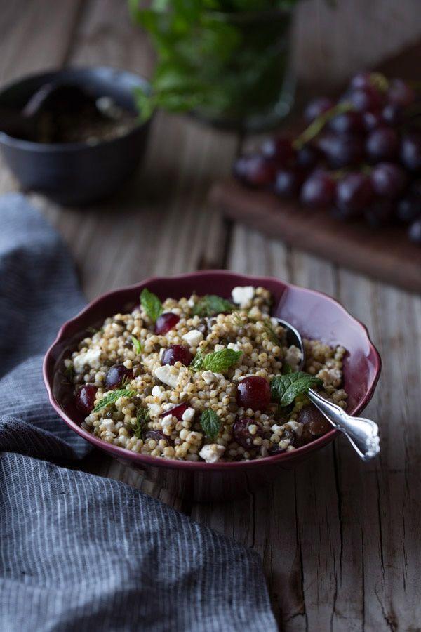 Sorghum Pilaf with Lentils, Feta, and Grapes