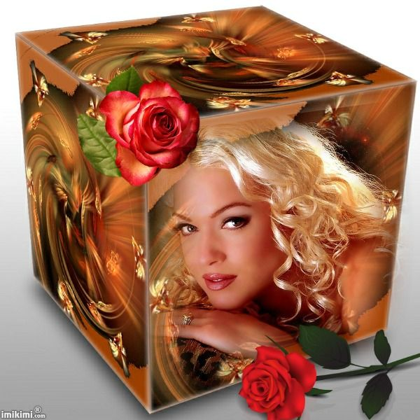 Beauty In Frame: Beautiful Blonde Woman In Cube Frame From Imikimi.com