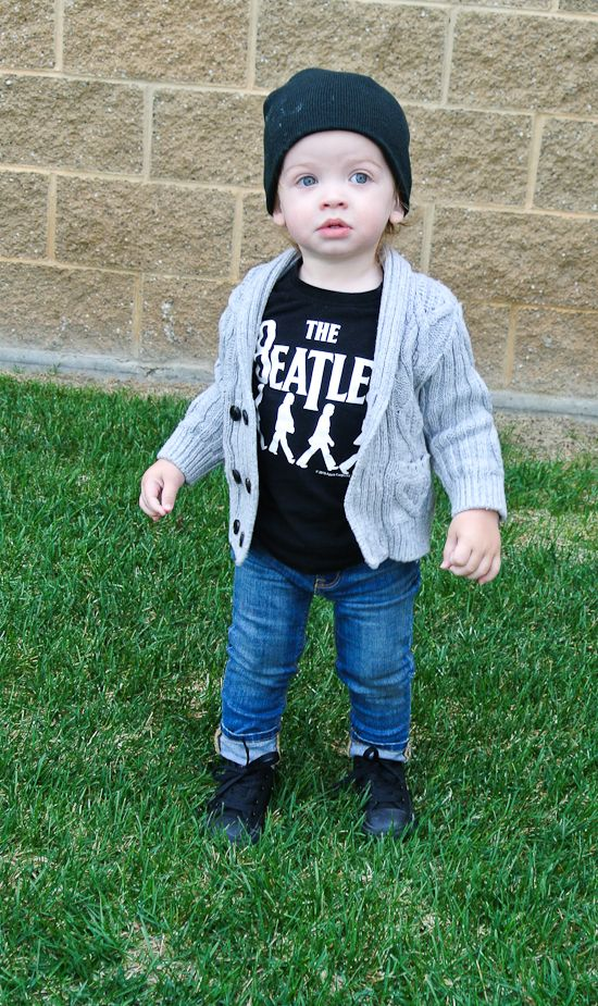 CARA LOREN: Love this kiddos outfit. Beatles t, grandpa cardi, skinny jeans, and converse. So cute!