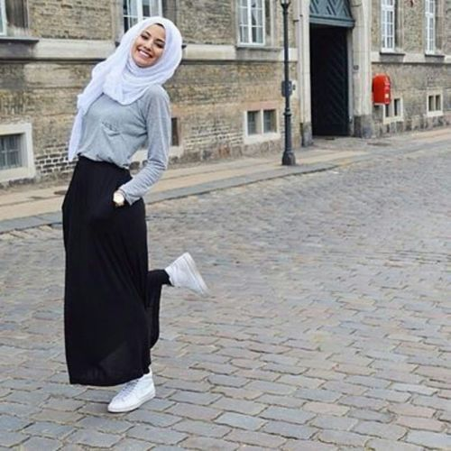 skirt with white sneakers, Hijab trends 2016 http://www.justtrendygirls.com/hijab-trends-2016/