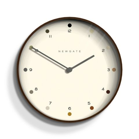 The Mr Clarke wall clock in dark plywood by Newgate Clocks. Contemporary dark plywood is paired with a shaded dot dial to create a modern minimalist wall clock. Iconic British design   www.newgateclocks.com  #homeware #decor #interior #homeaccesory