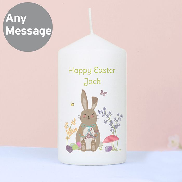 Personalised Easter Meadow Bunny Candle This candle is perfect for Easter. It comes presented in an organza bag and can be personalised with a message over 2 lines of up to 15 characters per line. All personalisation is case sensitive and will appear as entered. £9.99