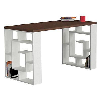 Bureau labirent marron fonc et blanc 140 x 75 x 60 cm for Bureau 140x60