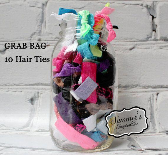 Hair Tie - 10 Hair Ties - Grab Bag Elastic Hair Ties - Creaseless Hair Ties on Etsy, $10.00