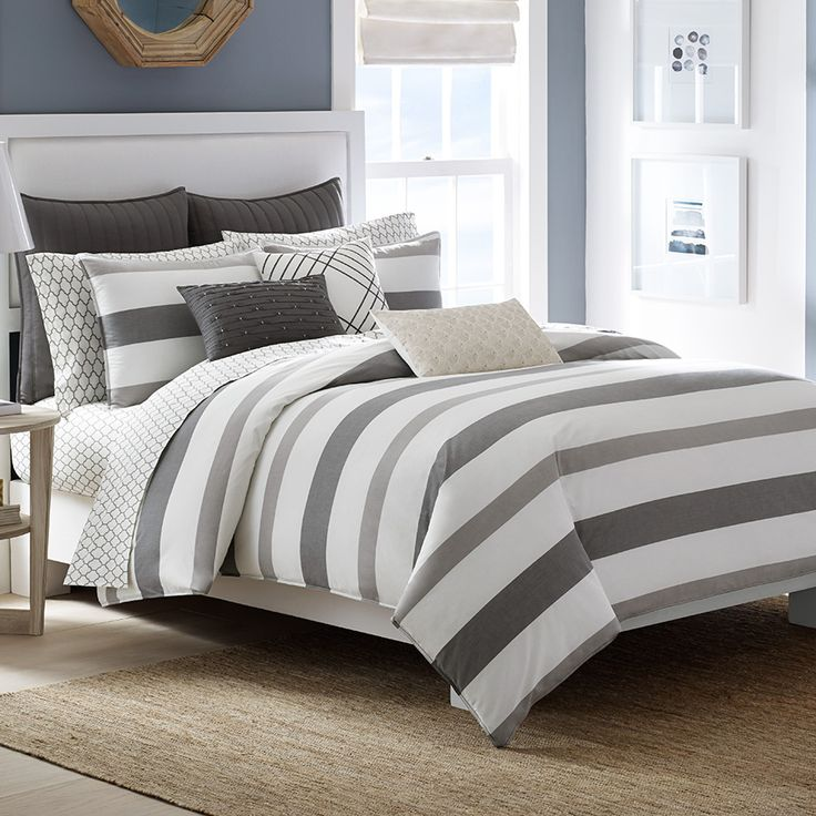 the nautica chatfield comforter set is a relaxed and refined bedding set decorated with broad yarndyed stripes in a relaxed neutral color story of soft