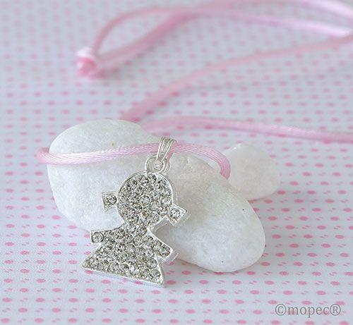 Colgante silueta de niña strass con cinta rosa