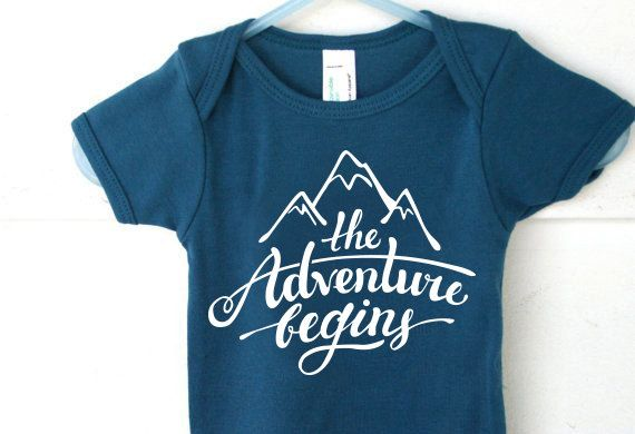 New Baby Gift, Baby Boy Clothes, The Adventure Begins Onesie, Newborn Clothes, Hipster Baby Clothes, Baby Shower Gifts, Take Home Outfit
