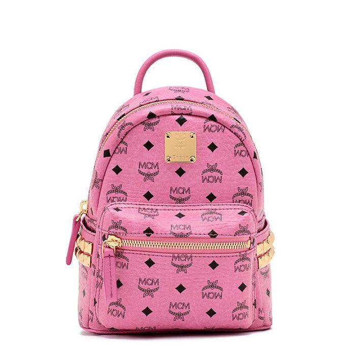 MCM Mini Stark Side Studded Backpack In Pink