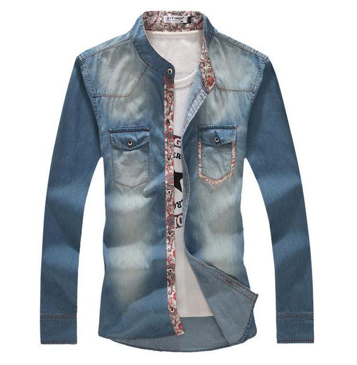 Новости мужская мода воды стиральная технологии с длинным рукавом тонкий джинсовые рубашки, мужская тонкой пригонки свободного покроя рубашка, азиатский м-5xl, T4058