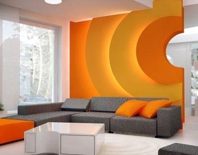 Interior design - residence in Radzymin (Poland) - open space ground floor full of orange !